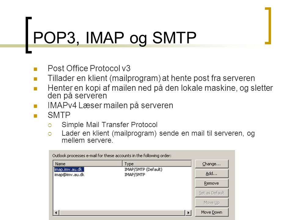 POP3, IMAP og SMTP Post Office Protocol v3