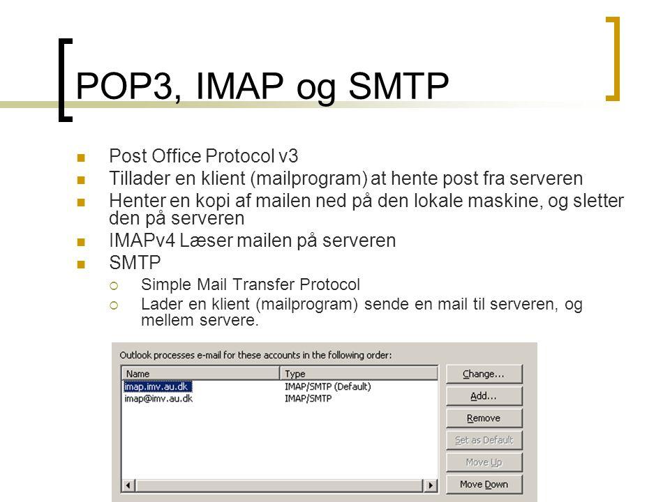 POP3, IMAP og SMTP Post Office Protocol v3