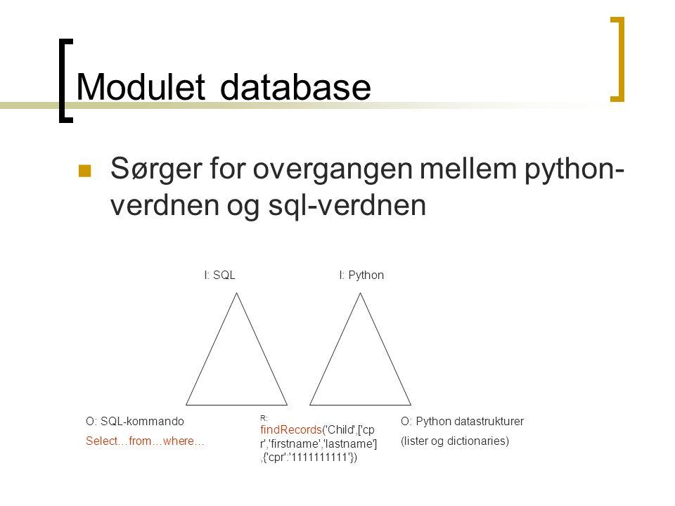 Modulet database Sørger for overgangen mellem python-verdnen og sql-verdnen. I: SQL. I: Python. O: SQL-kommando.