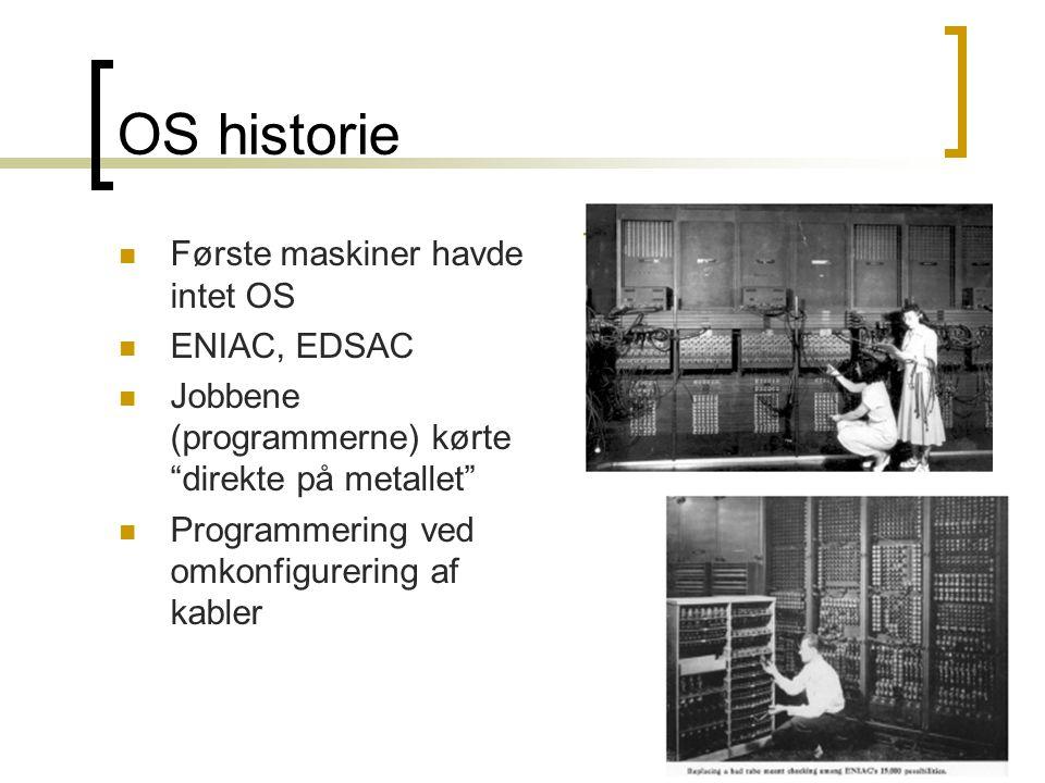 OS historie Første maskiner havde intet OS ENIAC, EDSAC