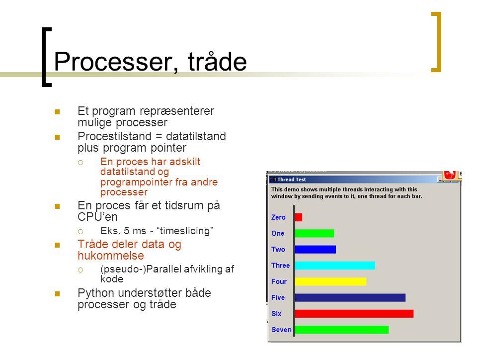 Processer, tråde Et program repræsenterer mulige processer
