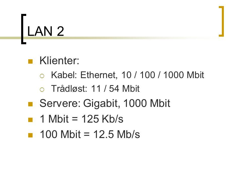 LAN 2 Klienter: Servere: Gigabit, 1000 Mbit 1 Mbit = 125 Kb/s