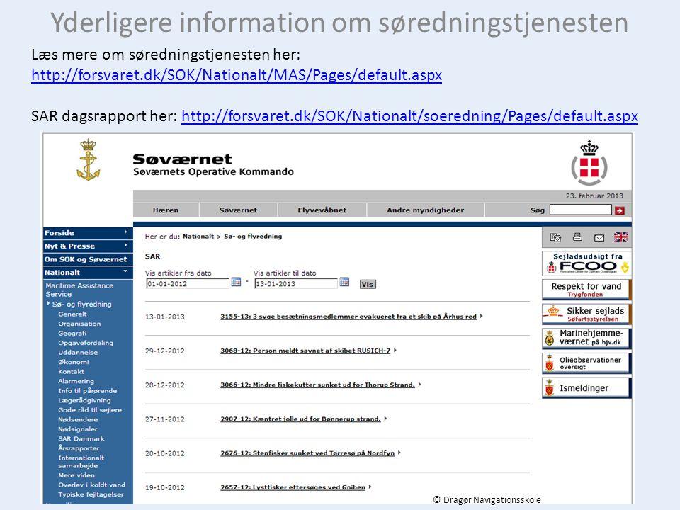Yderligere information om søredningstjenesten