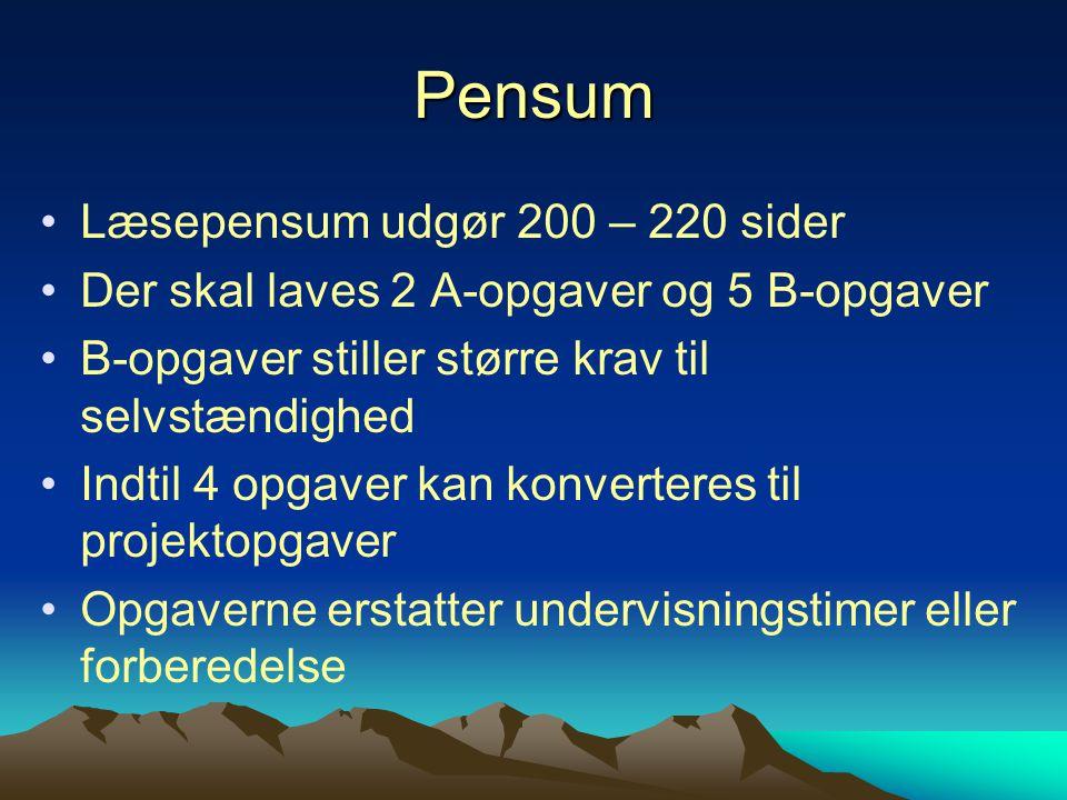 Pensum Læsepensum udgør 200 – 220 sider