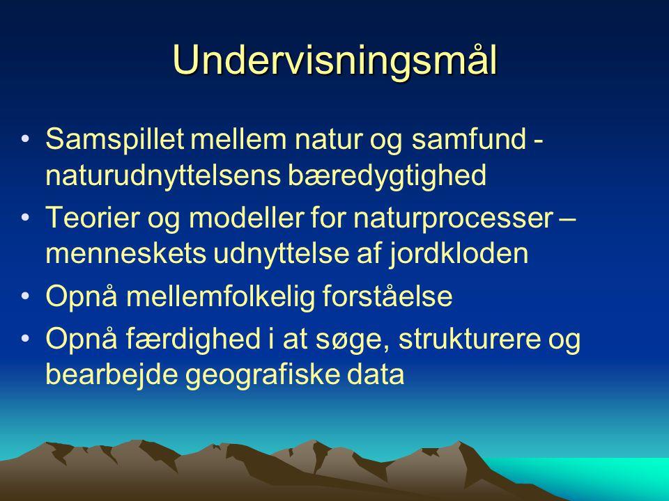 Undervisningsmål Samspillet mellem natur og samfund - naturudnyttelsens bæredygtighed.