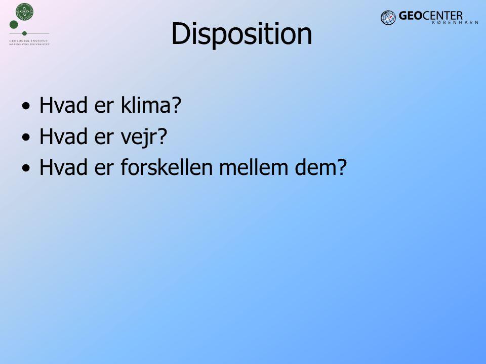 Disposition Hvad er klima Hvad er vejr