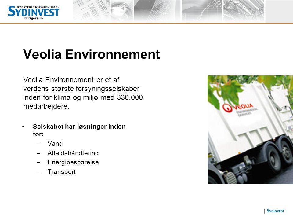 Veolia Environnement Veolia Environnement er et af verdens største forsyningsselskaber inden for klima og miljø med 330.000 medarbejdere.