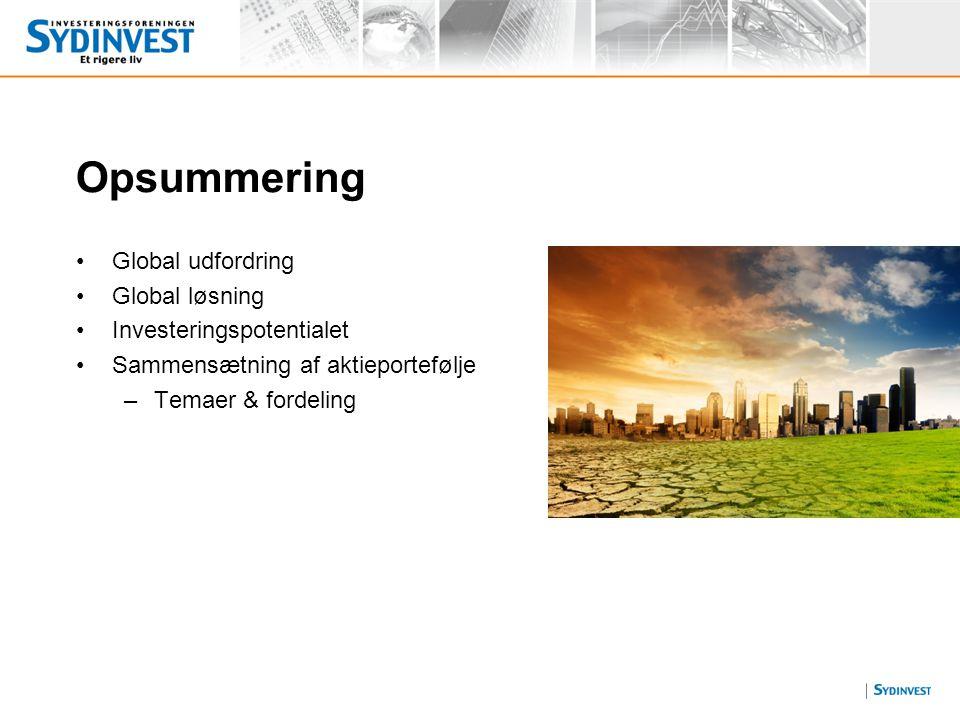 Opsummering Global udfordring Global løsning Investeringspotentialet