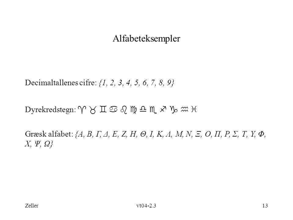 Alfabeteksempler Decimaltallenes cifre: {1, 2, 3, 4, 5, 6, 7, 8, 9}
