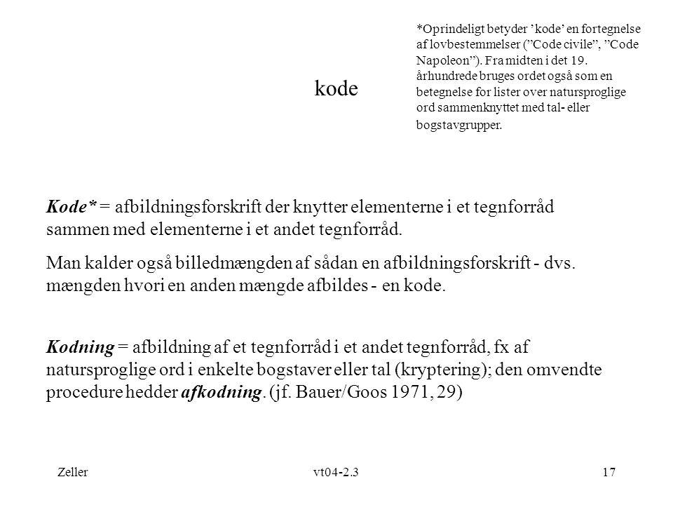 *Oprindeligt betyder 'kode' en fortegnelse af lovbestemmelser ( Code civile , Code Napoleon ). Fra midten i det 19. århundrede bruges ordet også som en betegnelse for lister over natursproglige ord sammenknyttet med tal- eller bogstavgrupper.