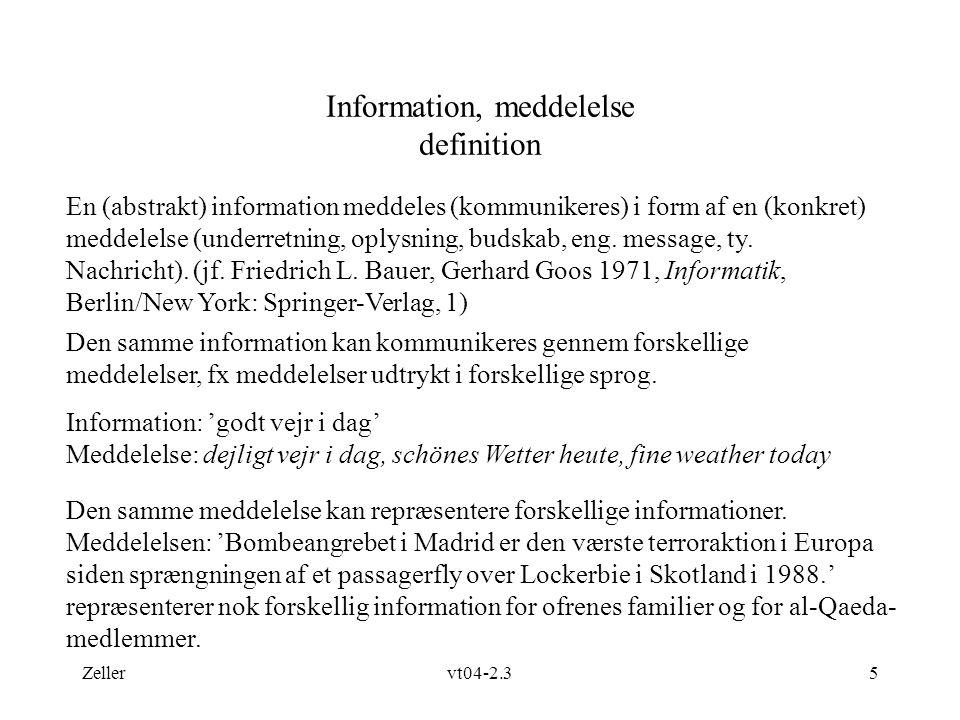 Information, meddelelse definition