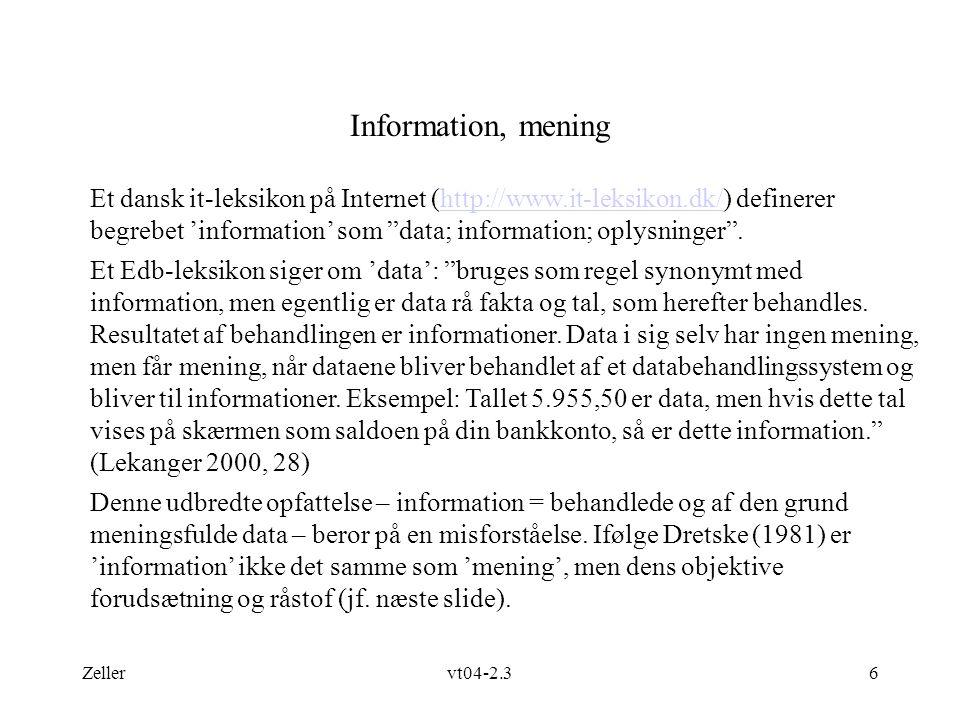 Information, mening