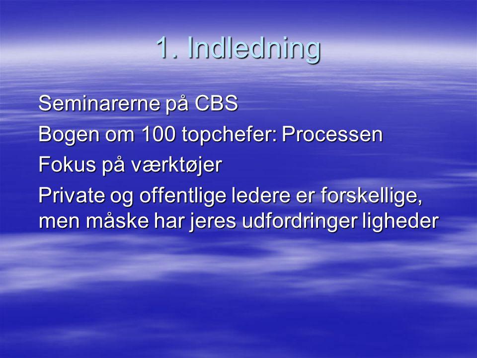 1. Indledning Seminarerne på CBS Bogen om 100 topchefer: Processen