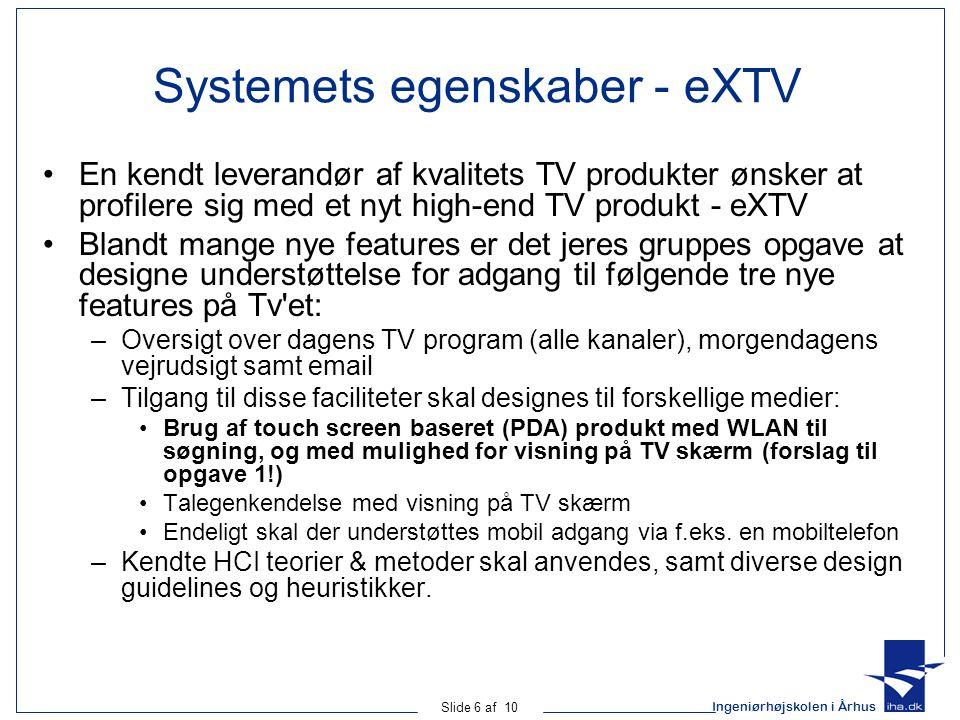Systemets egenskaber - eXTV