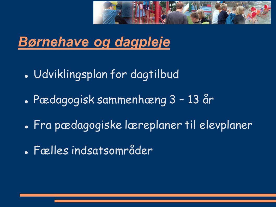 Børnehave og dagpleje Udviklingsplan for dagtilbud