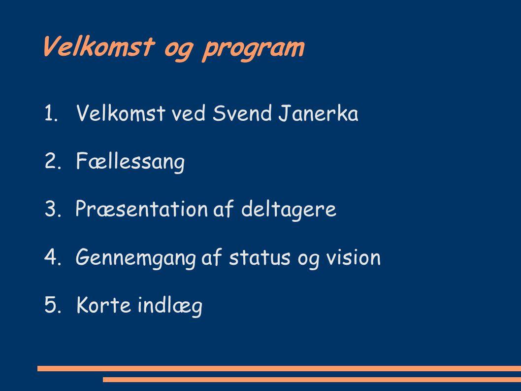 Velkomst og program Velkomst ved Svend Janerka Fællessang