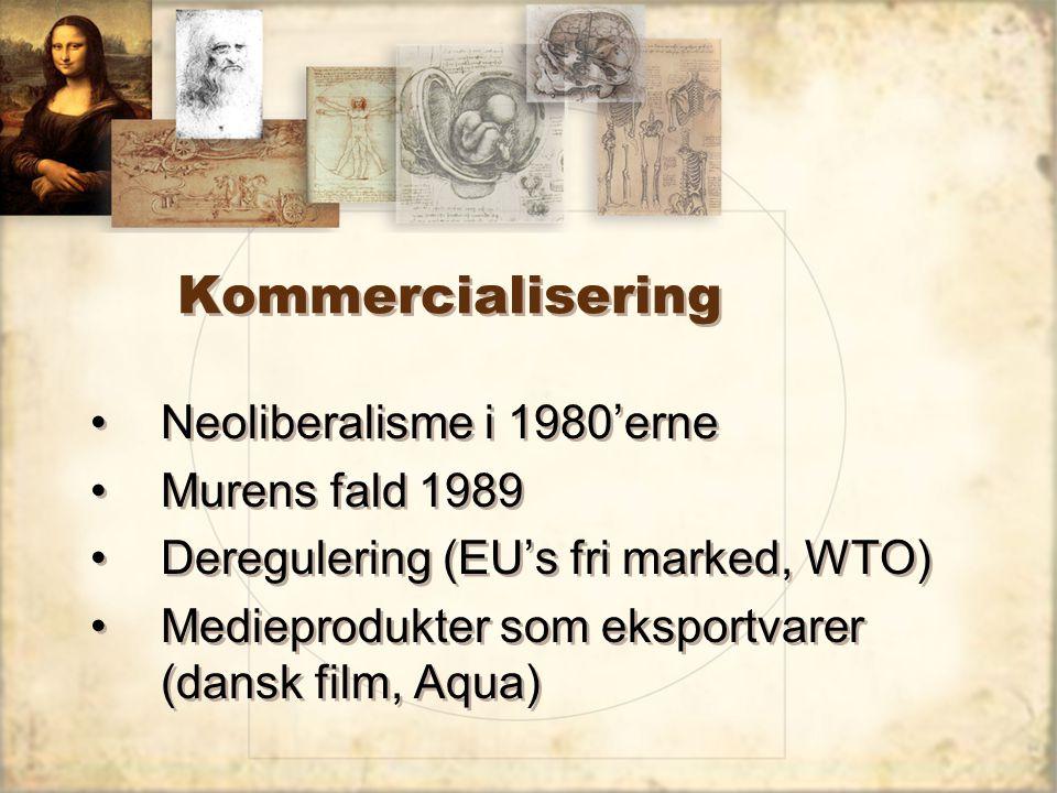 Kommercialisering Neoliberalisme i 1980'erne Murens fald 1989