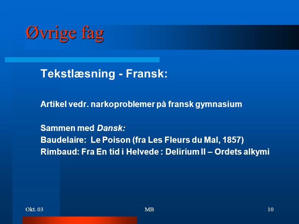 Øvrige fag Tekstlæsning - Fransk: