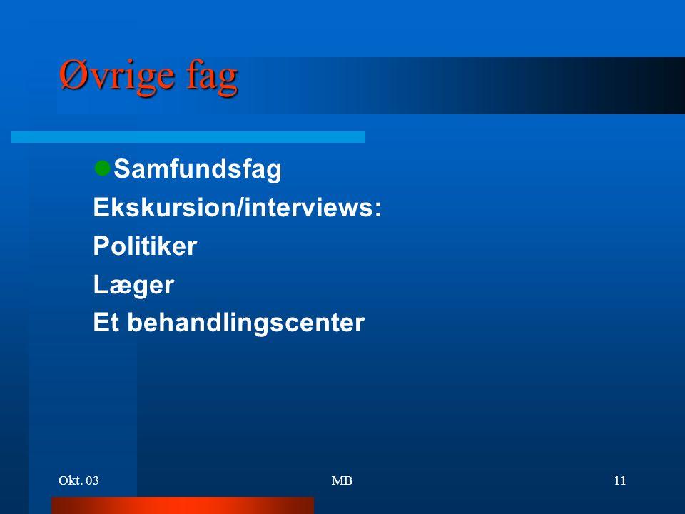 Øvrige fag lSamfundsfag Ekskursion/interviews: Politiker Læger