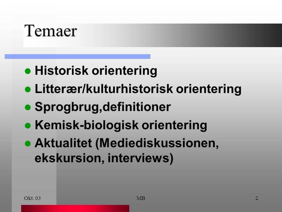 Temaer Historisk orientering Litterær/kulturhistorisk orientering