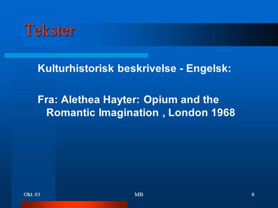 Tekster Kulturhistorisk beskrivelse - Engelsk: