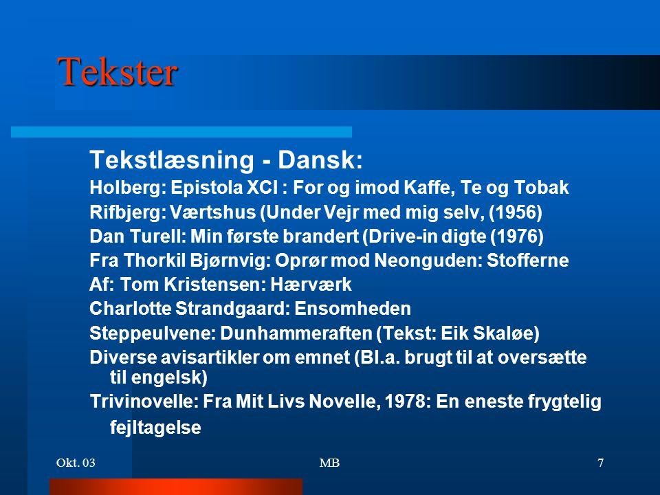 Tekster Tekstlæsning - Dansk: