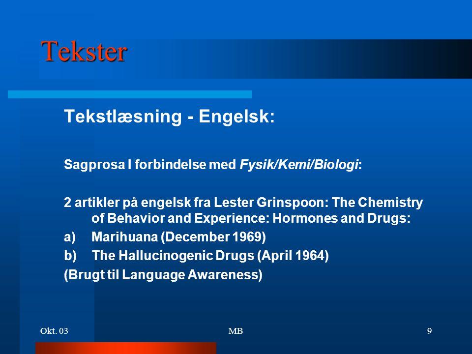 Tekster Tekstlæsning - Engelsk: