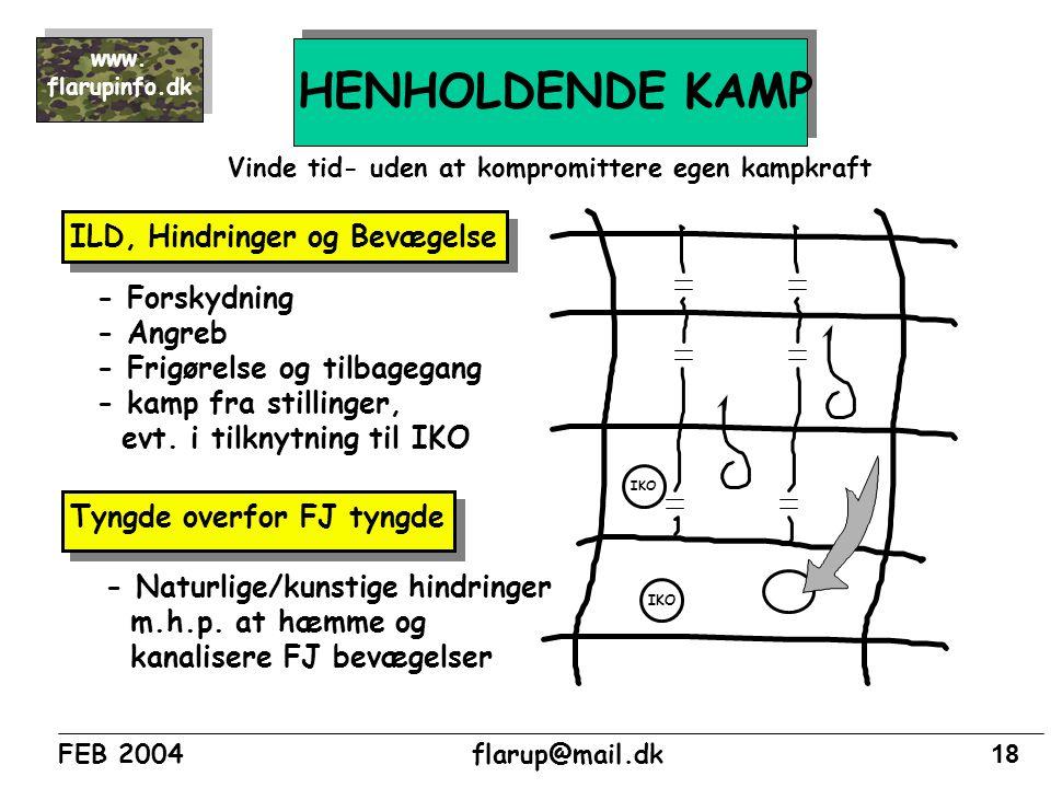 HENHOLDENDE KAMP ILD, Hindringer og Bevægelse - Forskydning - Angreb