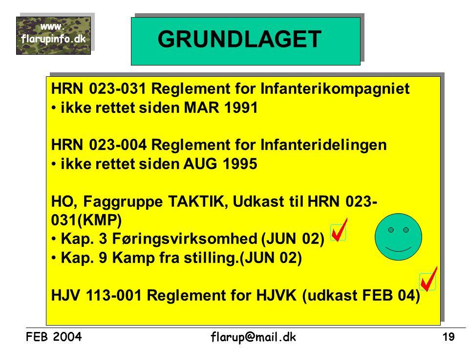 GRUNDLAGET HRN 023-031 Reglement for Infanterikompagniet