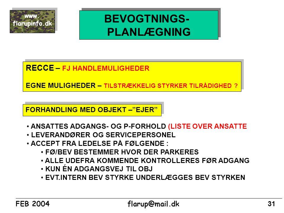BEVOGTNINGS- PLANLÆGNING RECCE – FJ HANDLEMULIGHEDER