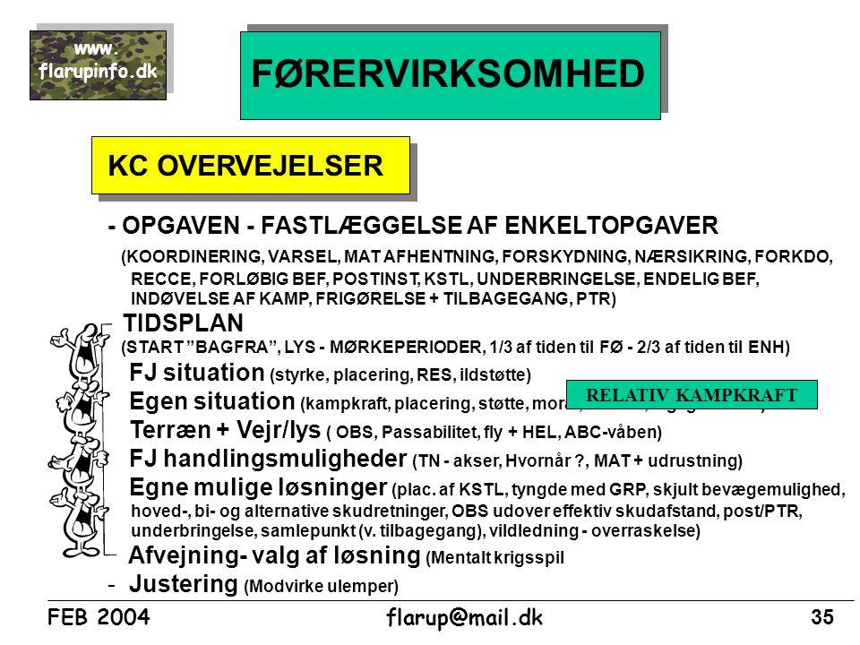 FØRERVIRKSOMHED KC OVERVEJELSER