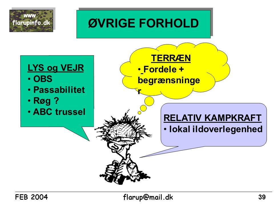 ØVRIGE FORHOLD TERRÆN Fordele + begrænsninger LYS og VEJR OBS