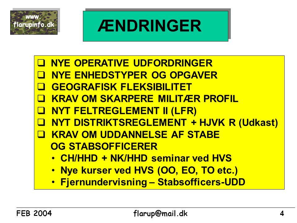 ÆNDRINGER NYE OPERATIVE UDFORDRINGER NYE ENHEDSTYPER OG OPGAVER