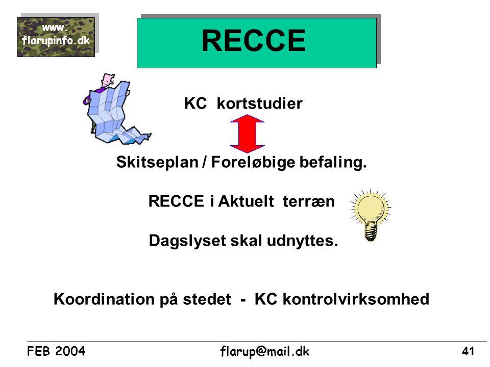 RECCE KC kortstudier Skitseplan / Foreløbige befaling.