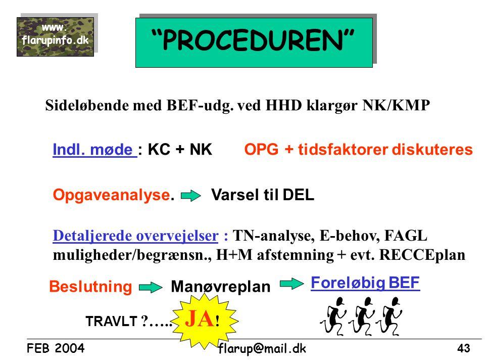 PROCEDUREN Sideløbende med BEF-udg. ved HHD klargør NK/KMP