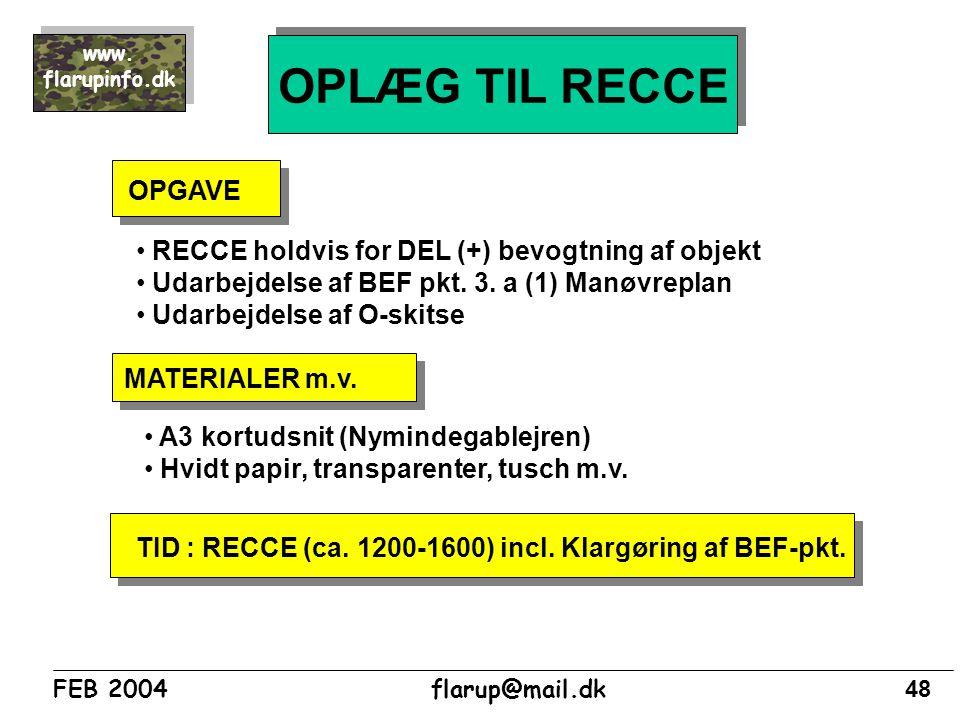 OPLÆG TIL RECCE OPGAVE RECCE holdvis for DEL (+) bevogtning af objekt