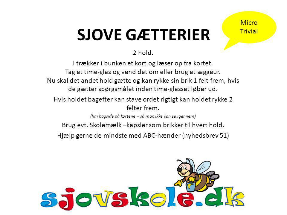 SJOVE GÆTTERIER Micro Trivial 2 hold.