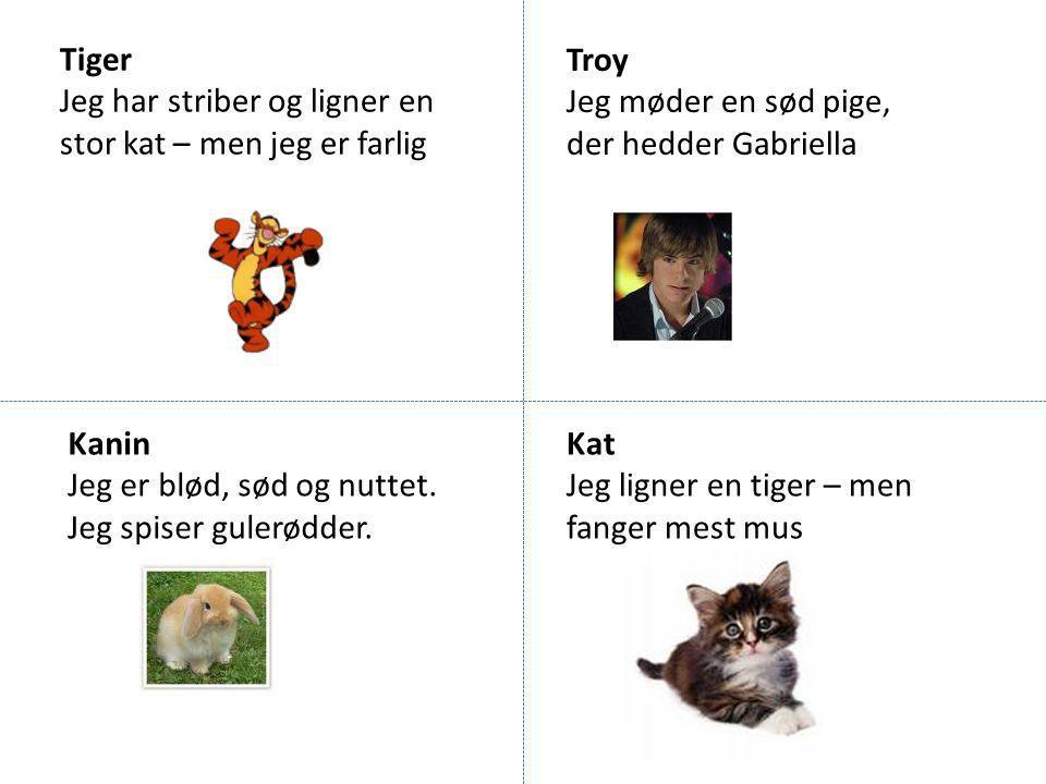 Tiger Jeg har striber og ligner en stor kat – men jeg er farlig. Troy. Jeg møder en sød pige, der hedder Gabriella.