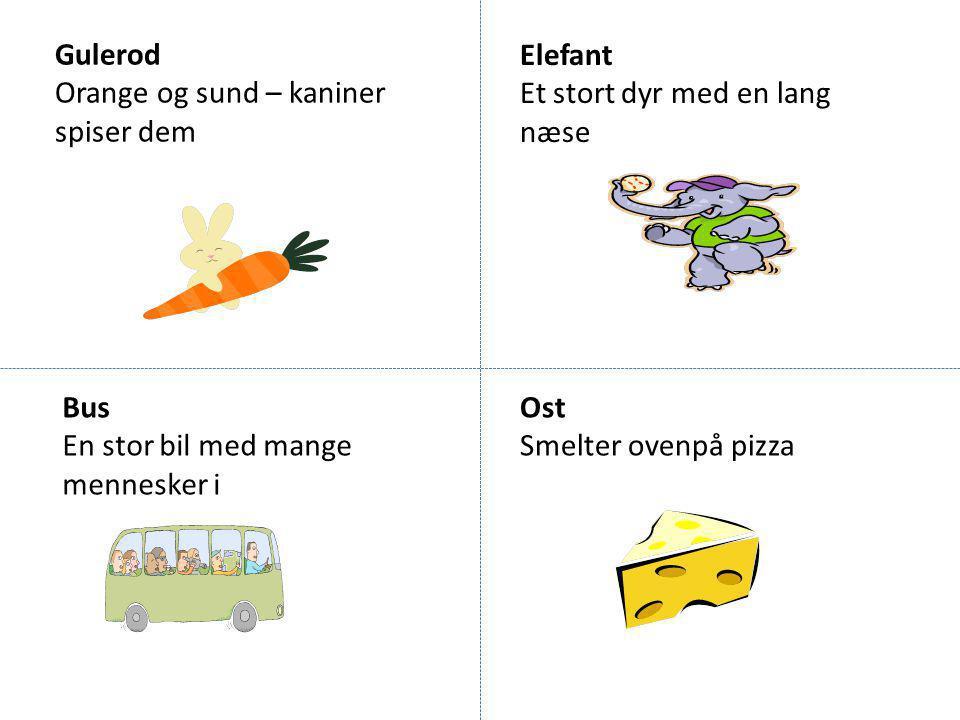 Gulerod Orange og sund – kaniner spiser dem. Elefant. Et stort dyr med en lang næse. Bus. En stor bil med mange mennesker i.