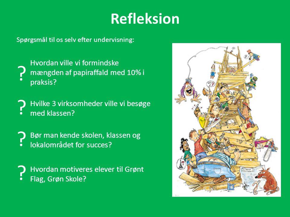 Refleksion Spørgsmål til os selv efter undervisning: Hvordan ville vi formindske mængden af papiraffald med 10% i praksis