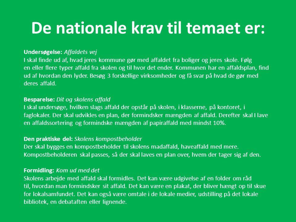 De nationale krav til temaet er: