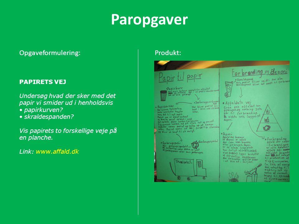 Paropgaver Opgaveformulering: Produkt: PAPIRETS VEJ