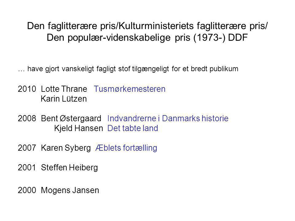 Den faglitterære pris/Kulturministeriets faglitterære pris/ Den populær-videnskabelige pris (1973-) DDF