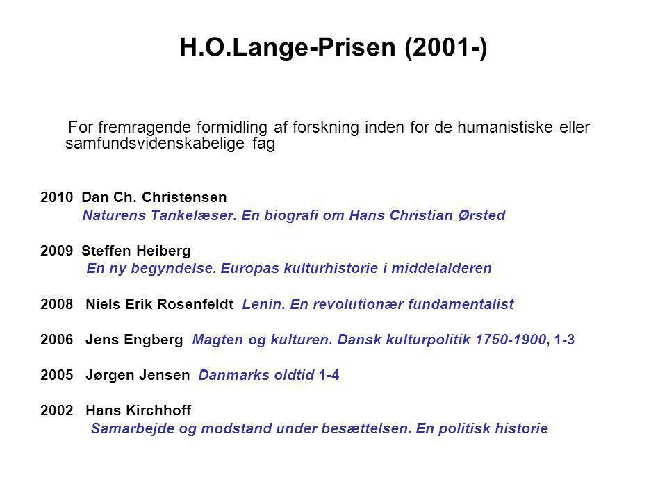 H.O.Lange-Prisen (2001-) For fremragende formidling af forskning inden for de humanistiske eller samfundsvidenskabelige fag.