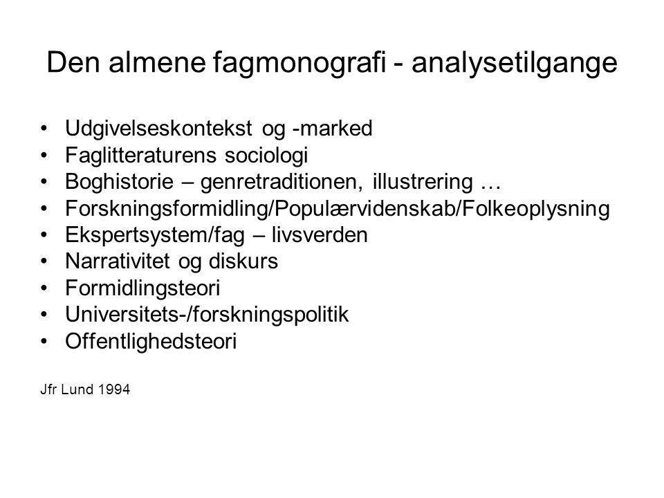 Den almene fagmonografi - analysetilgange