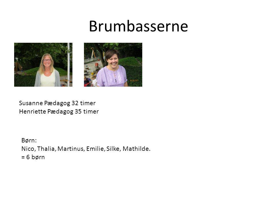 Brumbasserne Susanne Pædagog 32 timer Henriette Pædagog 35 timer Børn:
