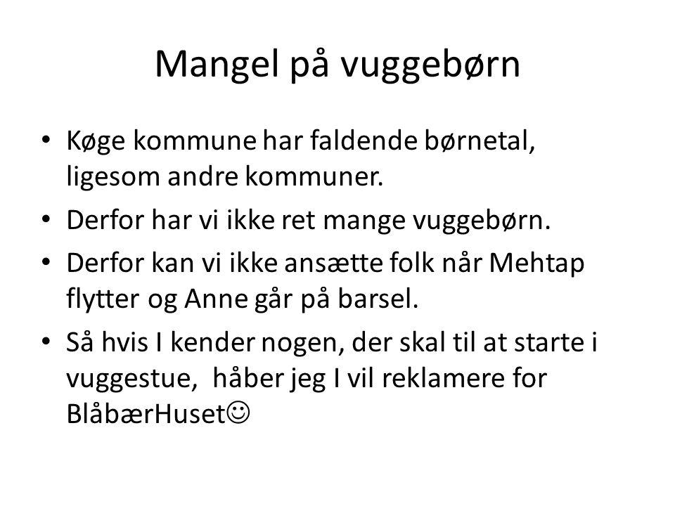 Mangel på vuggebørn Køge kommune har faldende børnetal, ligesom andre kommuner. Derfor har vi ikke ret mange vuggebørn.
