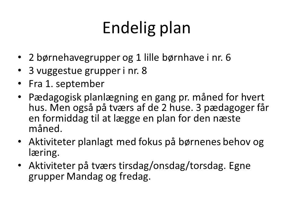 Endelig plan 2 børnehavegrupper og 1 lille børnhave i nr. 6