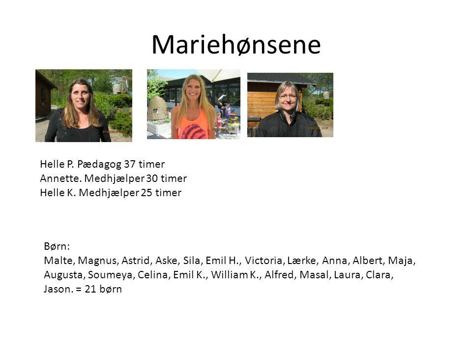 Mariehønsene Helle P. Pædagog 37 timer Annette. Medhjælper 30 timer