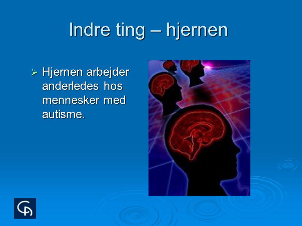 Indre ting – hjernen Hjernen arbejder anderledes hos mennesker med autisme. Det er den forreste del af hjernen, det man kalder frontallapperne,